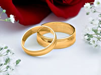 The happy result of successful pre-marital counseling: Wedding Rings